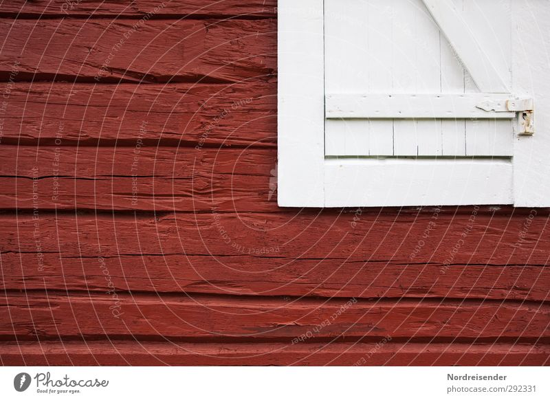 Old White Red House (Residential Structure) Window Wood Architecture Line Facade Authentic Living or residing Safety Hut Tradition Nostalgia Graphic