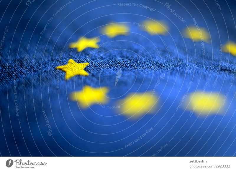 European flag Cotton Blue Design Euro symbol Flag Wrinkles Yellow Cloth Gold Circle Star (Symbol) Symbols and metaphors Textiles Landmark exit brexite Derelict