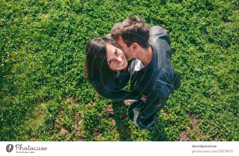 Top view couple hugging outdoors Lifestyle Happy Beautiful Human being Woman Adults Man Family & Relations Couple Nature Grass Meadow Aircraft Touch Kissing