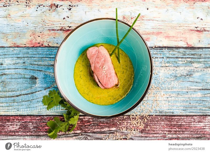 Healthy Eating Food Yellow Pink Nutrition Modern Orange Vension Bowl Turquoise Plate Ease Dinner Wooden table Meat Lunch