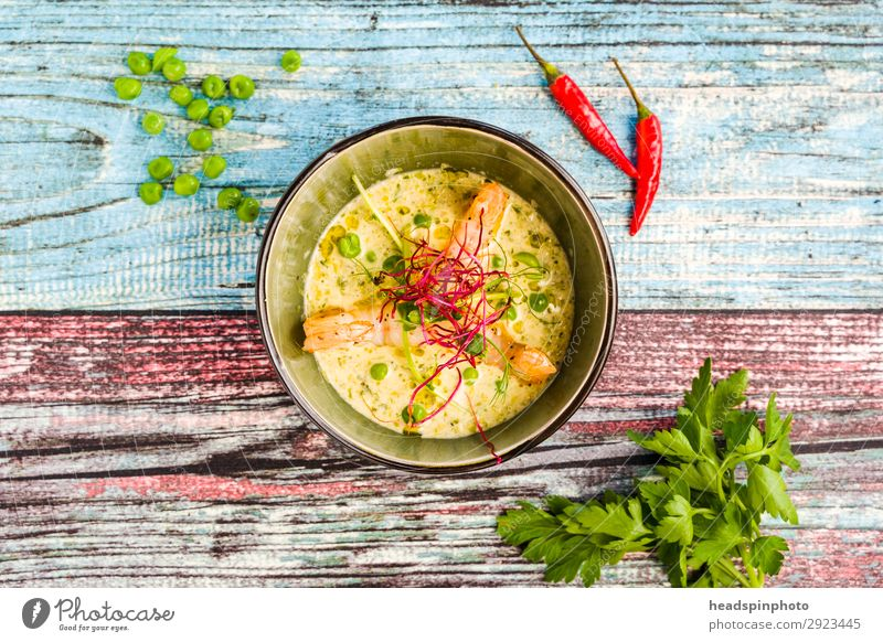 Coconut peas soup with prawns Food Seafood Vegetable Peas Ginger Shrimps Nutrition Lunch Dinner Buffet Brunch Banquet Business lunch Slow food Asian Food