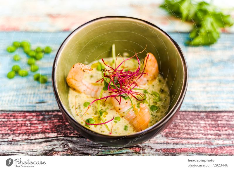 Coconut peas soup with prawns Food Seafood Vegetable Nutrition Lunch Dinner Buffet Brunch Banquet Asian Food Bowl Multicoloured Green Shrimps Soup Soup plate