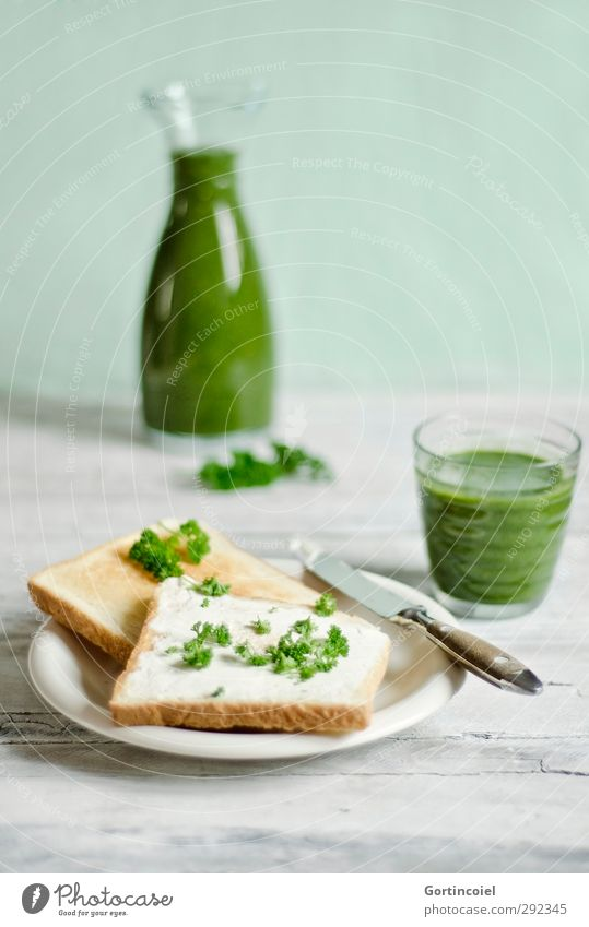 Green breakfast Food Bread Nutrition Breakfast Beverage Juice Plate Glass Knives Fresh Healthy Delicious Breakfast table Toast Milkshake Fruity Food photograph