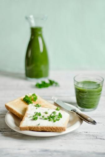 Green breakfast Food Bread Nutrition Breakfast Beverage Juice Plate Glass Knives Fresh Healthy Delicious Breakfast table Toast Milkshake Fruity Food photograph