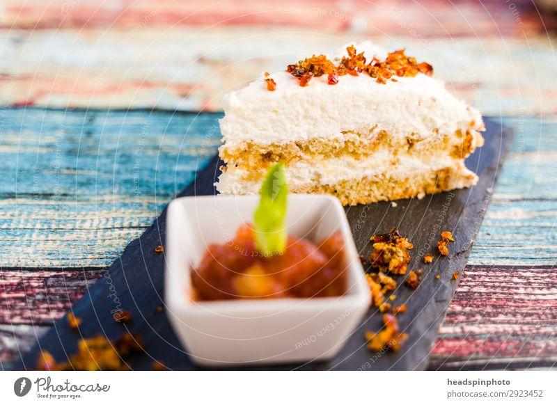 Joy Food Nutrition Sweet Modern Delicious Cake Dessert Vegetarian diet Turquoise Plate Vegan diet Wooden table Summery Banquet