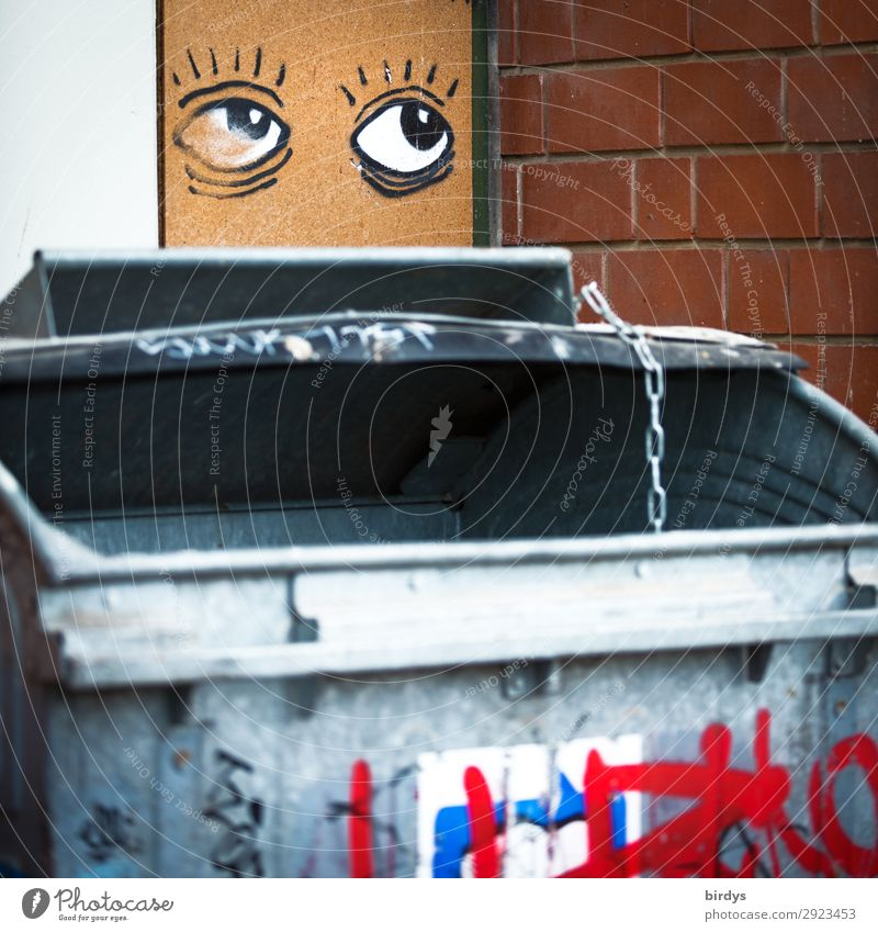 Large flap, garbage chute Trash container 1 Human being Wall (barrier) Wall (building) Waste management Household garbage Graffiti Eyes Looking Authentic