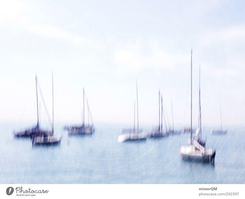 dreamlike. Art Esthetic Motion blur Navigation Sailboat Watercraft Harbour Heaven Ocean Sea water Sailing Work of art Idyll Vacation mood Colour photo