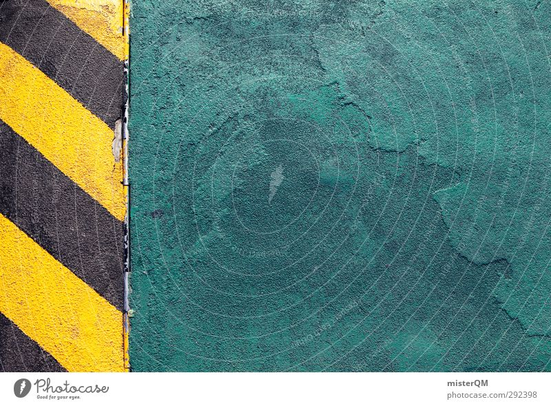 Attention! Art Esthetic Symmetry Graphic Threat Risk Clue Signage Lane markings Pavement Street Striped Yellow Black Bluish Structures and shapes