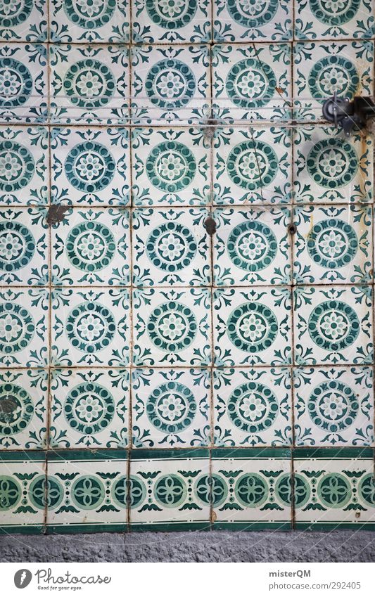 Tile green. Art Esthetic Pattern Symmetry Portugal Lisbon Square Adornment Decoration Wall (building) Facade Old fashioned Retro Style Colour photo