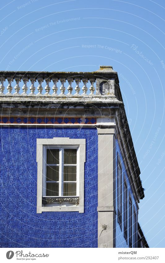 Blue front. Art Esthetic Facade Blue sky Portugal Car Window Old building Lisbon Corner building Tile Colour photo Subdued colour Exterior shot Detail