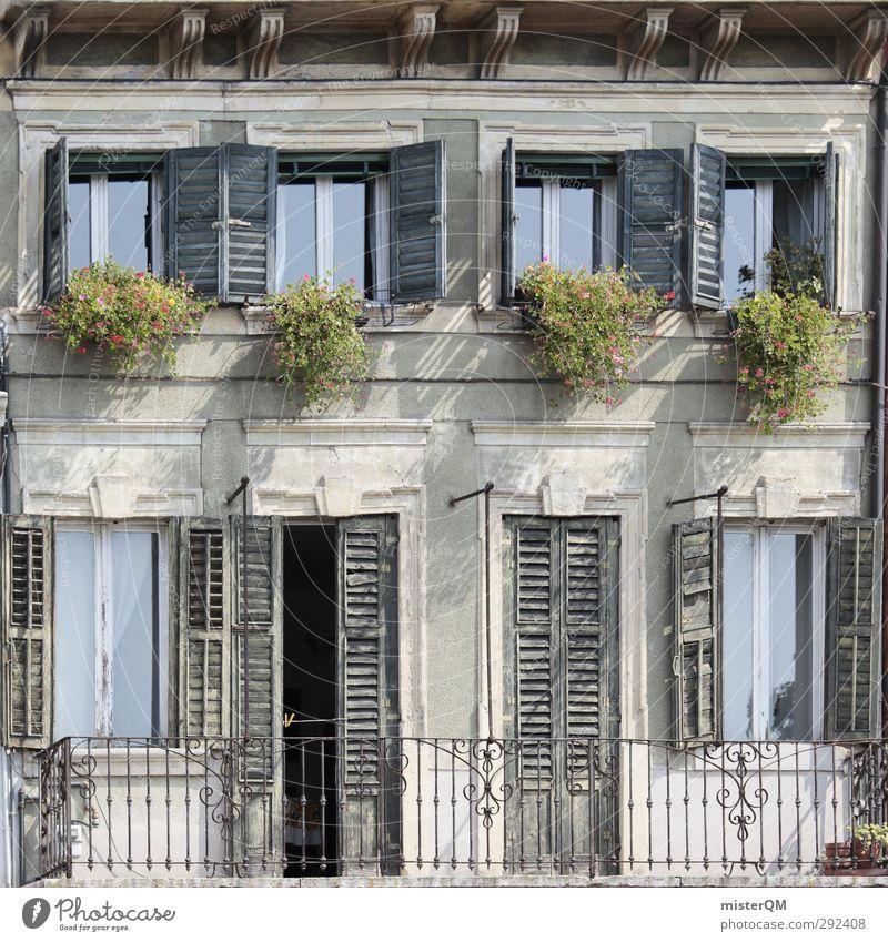 Italy squared. Art Esthetic Square Car Window Facade Door Window box Mediterranean Country house Derelict Colour photo Subdued colour Exterior shot Close-up