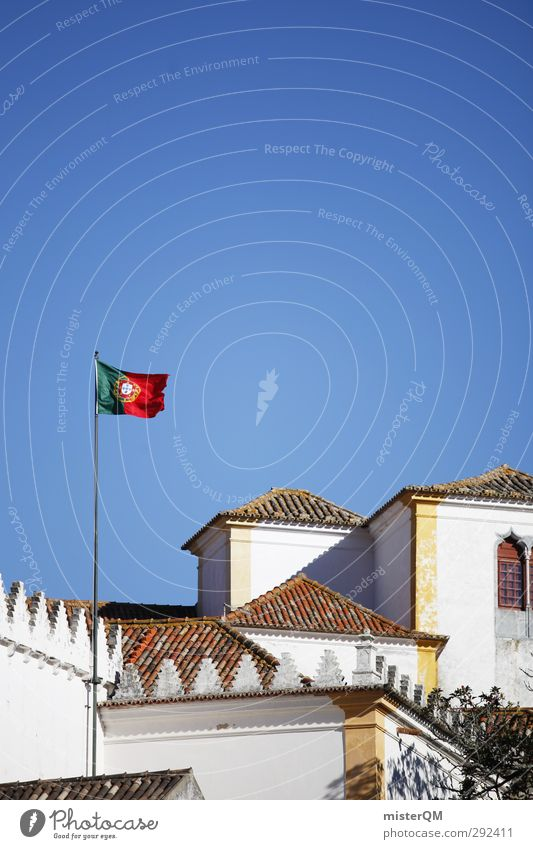 Portugal. Art Esthetic Flag Blow Lisbon House (Residential Structure) Small Town Coat of arms Patriotism Colour photo Subdued colour Exterior shot Experimental