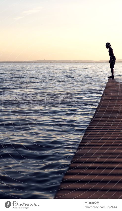 Small Step for Me. Art Esthetic Jetty Jump Brave Test of courage Water Lake Garda Wood Surface of water Vacation & Travel Vacation photo Idyll