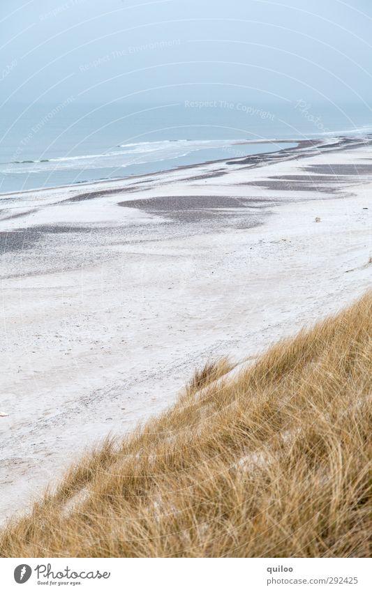 coastal strip Vacation & Travel Beach Ocean Waves Coast North Sea Dune Marram grass Sandy beach Infinity Above Beautiful Blue Yellow Gray White Happy