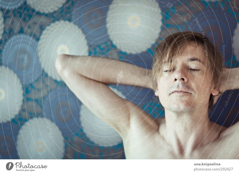 Molecular fatigue Wallpaper Man Adults 1 Human being 30 - 45 years Blonde Think Relaxation Sleep Dream Naked Natural Eroticism Blue Emotions Safety (feeling of)