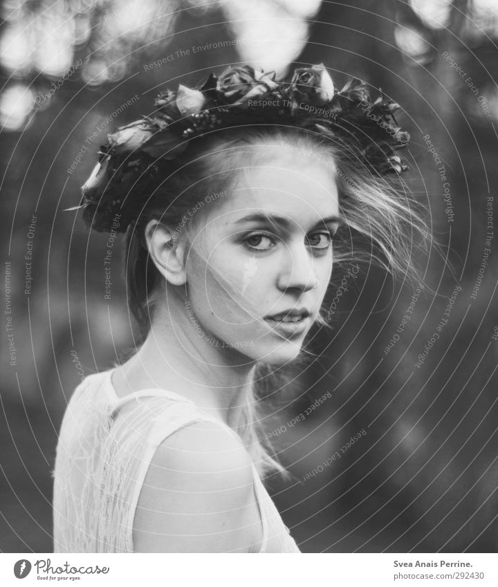 Ephemeral. Feminine Young woman Youth (Young adults) Head Face 1 Human being 18 - 30 years Adults Nature Bad weather Park Accessory Jewellery Wreath Headwear