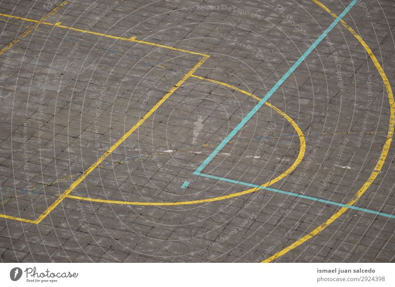 colorful lines on the ground in the basketball court Basketball Sports Court building Field Line markings Colour Multicoloured Ground Playing Old Street Park