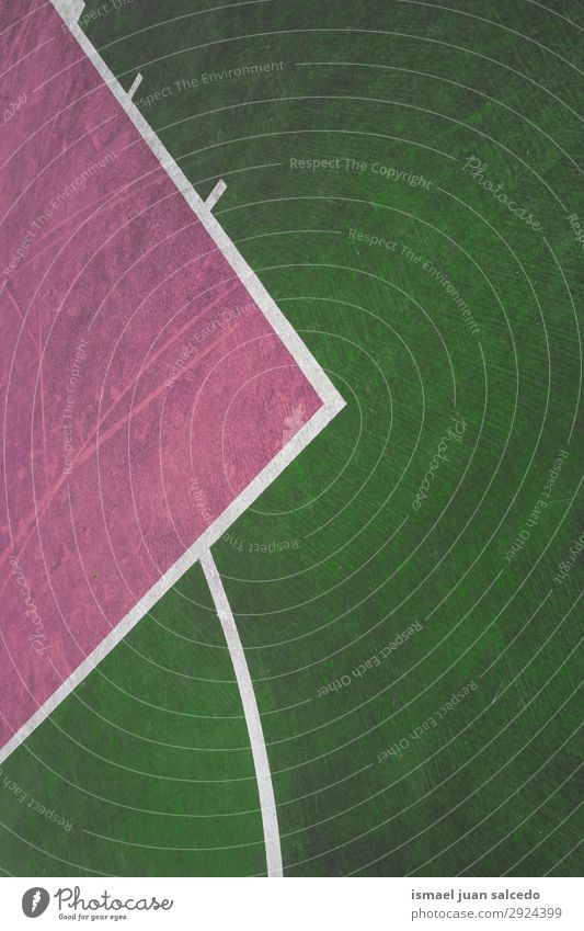 green and pink lines on the ground in the basketball court Basketball Sports Court building Field Line markings Colour Multicoloured Ground Playing Old Street