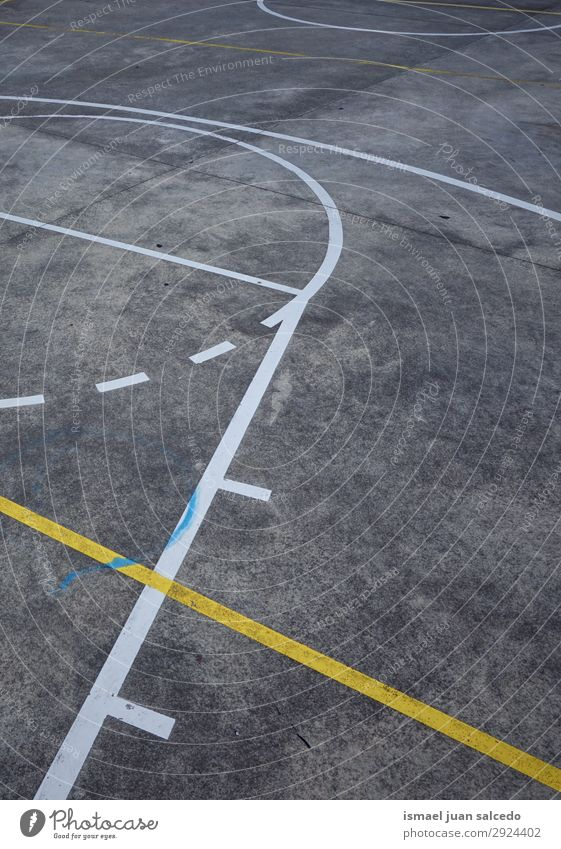 lines on the ground in the basketball court in the street Basketball Sports Court building Field Line markings Colour Multicoloured Ground Playing Old Street