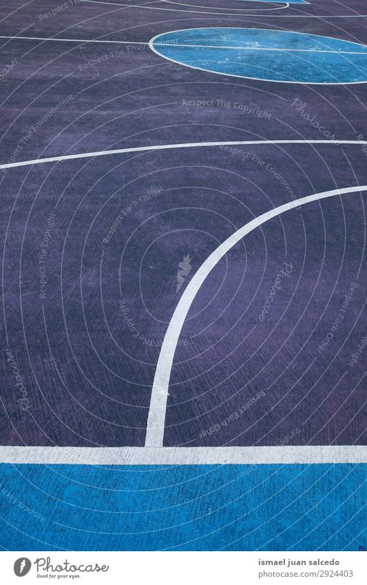 blue and white lines on the basketball court in the street Basketball Sports Court building Field Line markings Blue White Colour Multicoloured Ground Playing