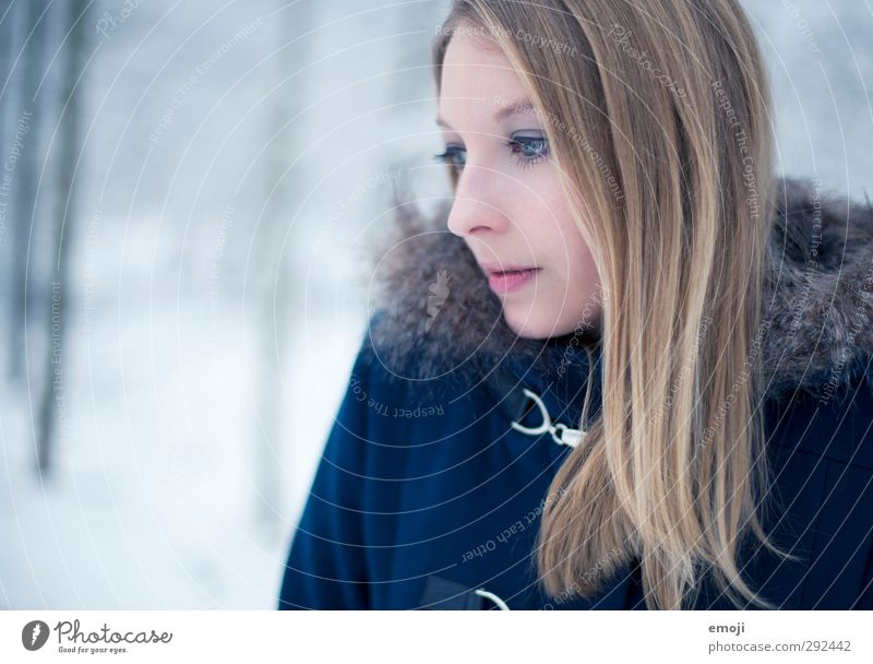 ocean Feminine Young woman Youth (Young adults) 1 Human being 18 - 30 years Adults Winter Fur coat Blonde Beautiful Cold Blue Colour photo Exterior shot Day