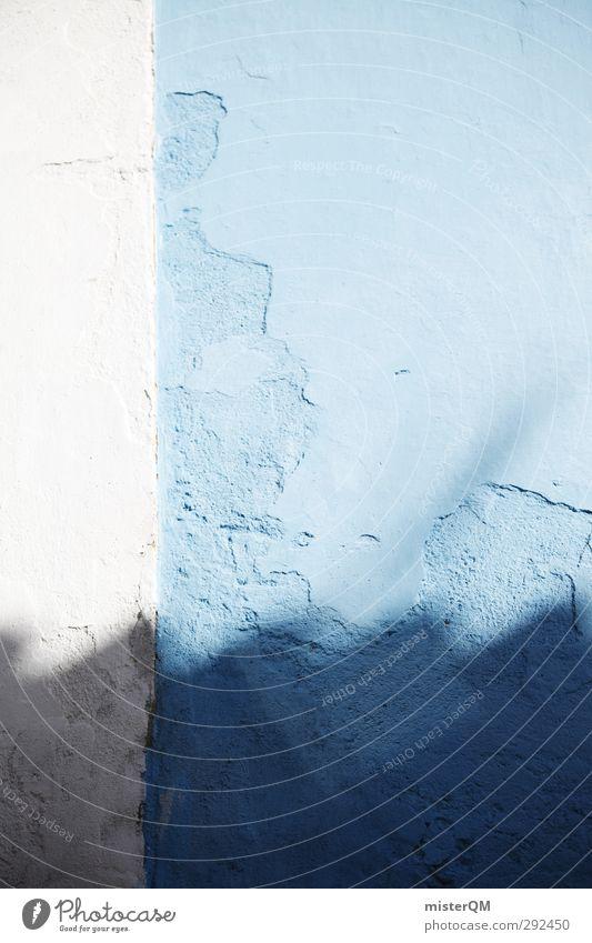 Blue Shadows. Art Esthetic Facade Wall (building) Mediterranean Symmetry White Eaves Corrugated sheet iron Colour photo Subdued colour Exterior shot