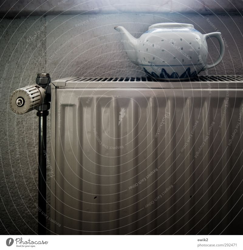 Wait and see and drink tea Heating Heater Teapot Porcelain Wall (barrier) Wall (building) Metal Anticipation Patient Colour photo Subdued colour Interior shot