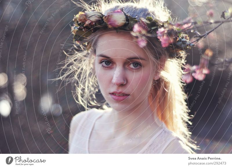 Mrs. Frühling. Feminine Young woman Youth (Young adults) Hair and hairstyles Face 1 Human being 18 - 30 years Adults Environment Nature Beautiful weather Flower