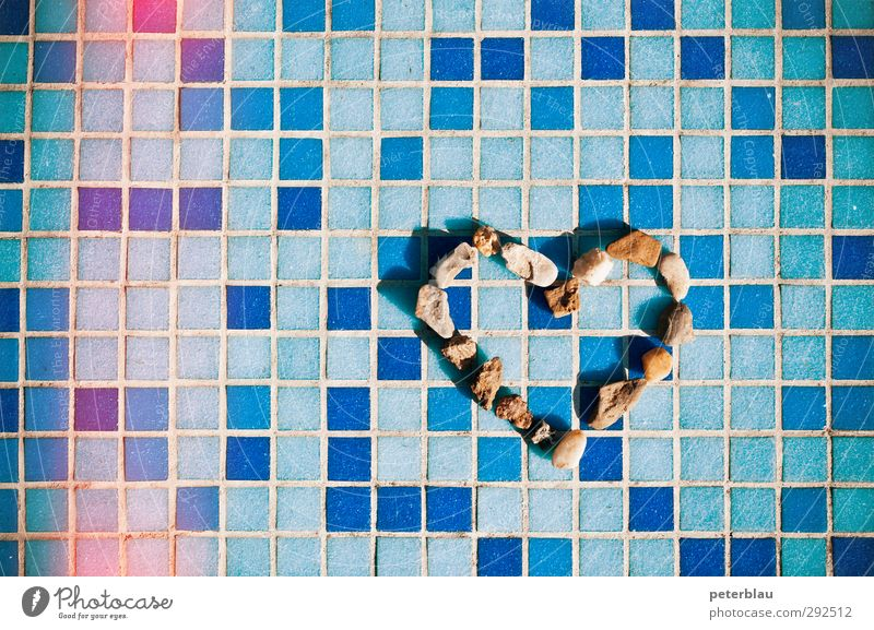 heart-cold Stone Heart Line Net Blue Happy Sympathy Together Calm Heart-shaped Display of affection Summery Mosaic Colour photo Exterior shot Close-up Abstract