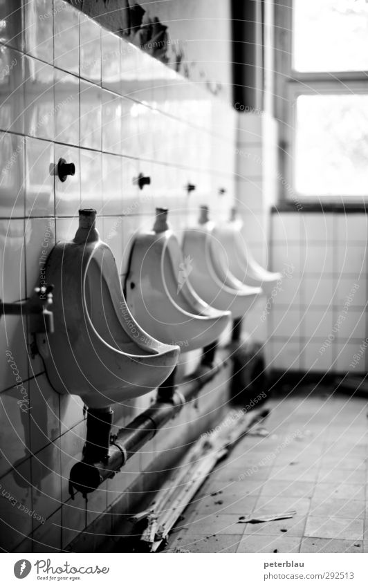 dummy Interior design Bathroom Ruin Old Broken Black White Decline Shack Toilet Urinal Black & white photo Interior shot Day Contrast Shallow depth of field