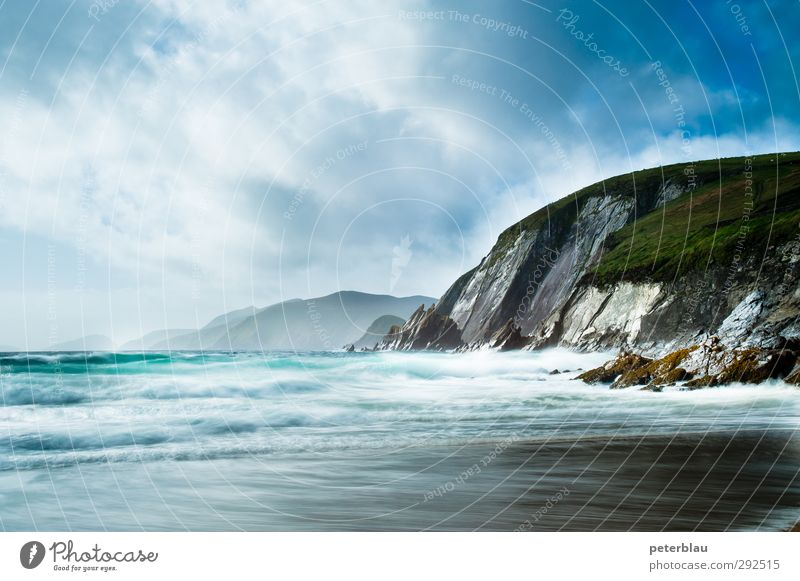 steep coast Nature Landscape Water Clouds Beach Bay Ocean Free Blue Green Far-off places Coast Waves Swell Steep face Colour photo Multicoloured Exterior shot