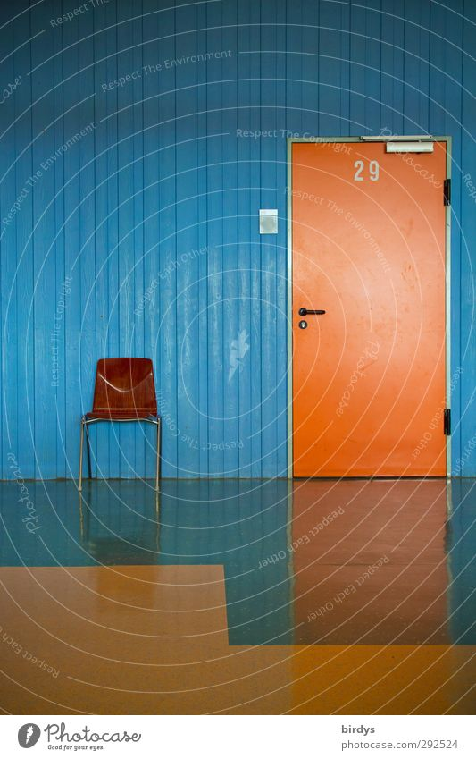 Blue Loneliness Wall (building) Interior design School Office Orange Room Door Glittering Arrangement Wait Floor covering School building Digits and numbers