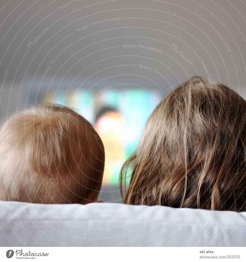 tube image Parenting Education Child TV set Entertainment electronics Masculine Feminine Toddler Brothers and sisters Sister Infancy Head Hair and hairstyles