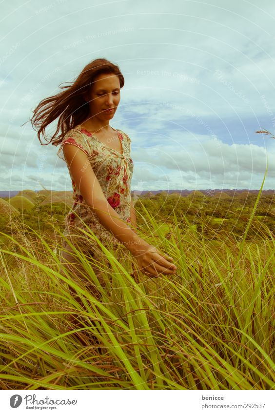 grass touch Woman Human being To enjoy Grass Stand Common Reed Meadow Summer Asia Hill Mountain Laughter Smiling Free Freedom Vacation & Travel