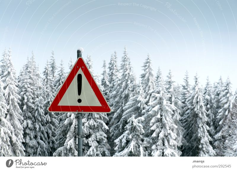 Attention winter! Trip Winter vacation Environment Nature Landscape Climate Ice Frost Snow Forest Sign Signs and labeling Cold Moody Warn Exclamation mark