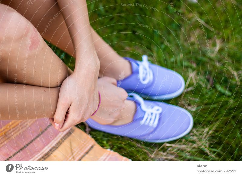 beautiful shoes with leg Feminine Young woman Youth (Young adults) Woman Adults Legs Feet Sit Slip-on Lawn Picnic Relaxation Violet Footwear Hand Colour photo