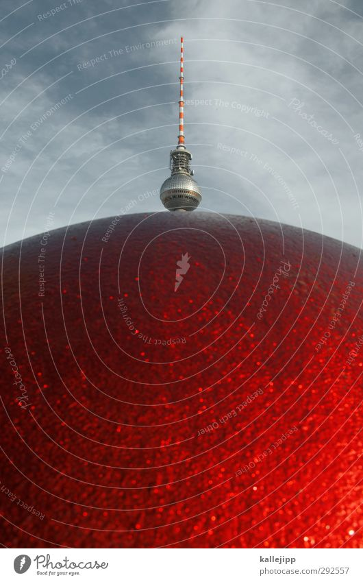 doughnut Tourist Attraction Red Television tower Berlin Berlin TV Tower Downtown Berlin Sphere Colour photo Multicoloured Exterior shot Close-up Deserted