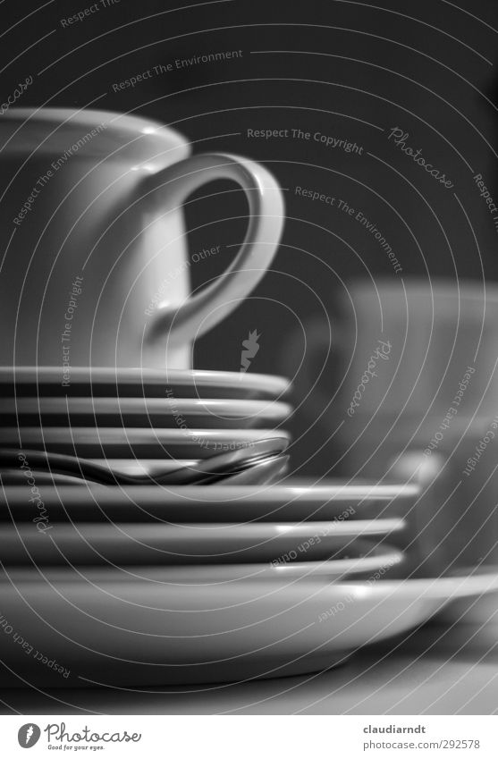 dish washing Crockery Plate Cup Spoon Kitchen Dirty Gray Black White Do the dishes To have a coffee Blur Housekeeping Stack Black & white photo Detail Deserted