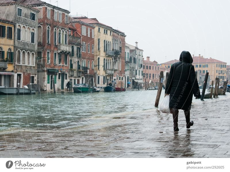 House (Residential Structure) Cold Gray Building Wet Gloomy Regen County Old town Venice Port City Channel Flood