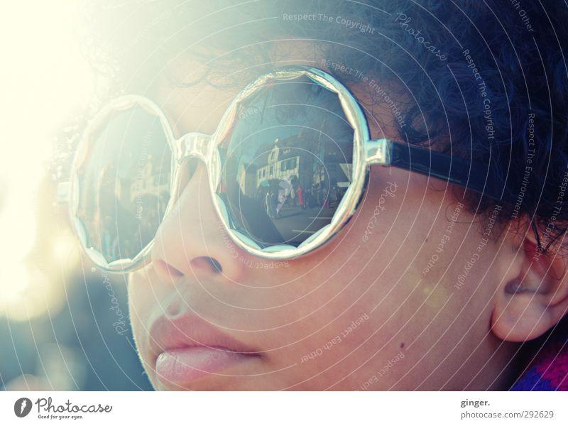 Carnival sunshine :) Joy Leisure and hobbies Entertainment Feasts & Celebrations Looking Sunbeam Sunglasses Eyeglasses Round Dark Bright Child
