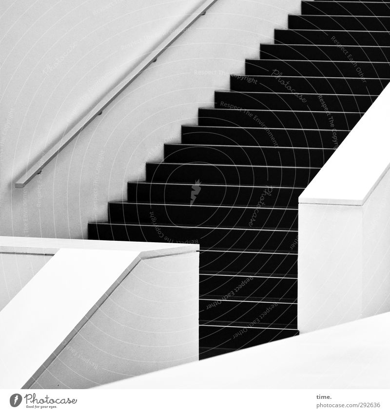 White Black Wall (building) Interior design Wall (barrier) Gray Moody Stairs Contentment Elegant Arrangement Modern Esthetic Athletic Concentrate Banister