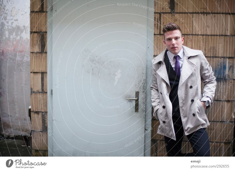 next door Masculine Young man Youth (Young adults) 1 Human being 18 - 30 years Adults Wall (barrier) Wall (building) Door Fashion Jacket Coat Hip & trendy