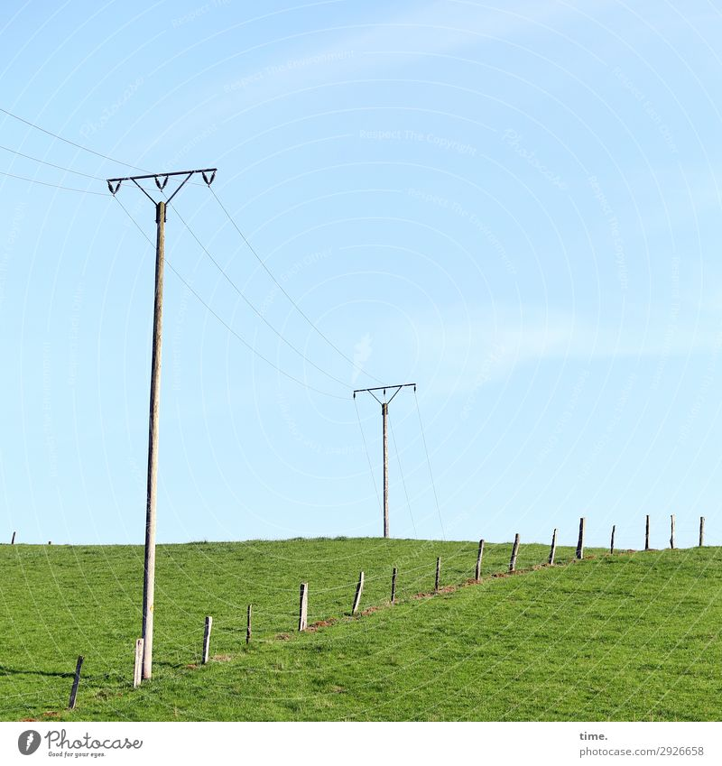 Stories from the fence (XIX) Agriculture Forestry Energy industry Technology Transmission lines High voltage power line Fence Pasture fence Cable Environment