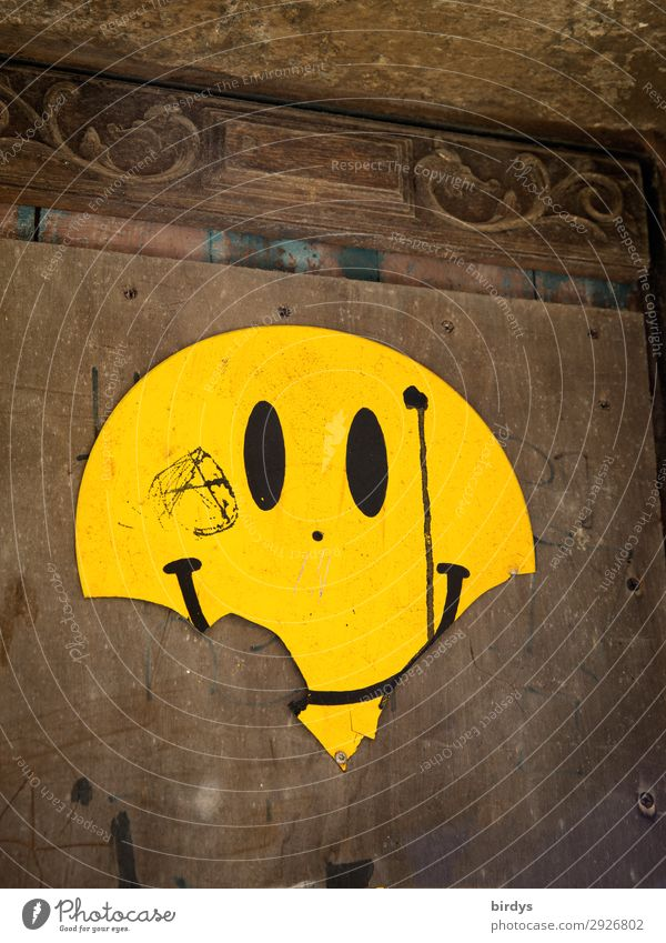 Joy Yellow Wall (building) Emotions Laughter Wall (barrier) Brown Moody Contentment Smiling Happiness Authentic Uniqueness Broken Sign Round