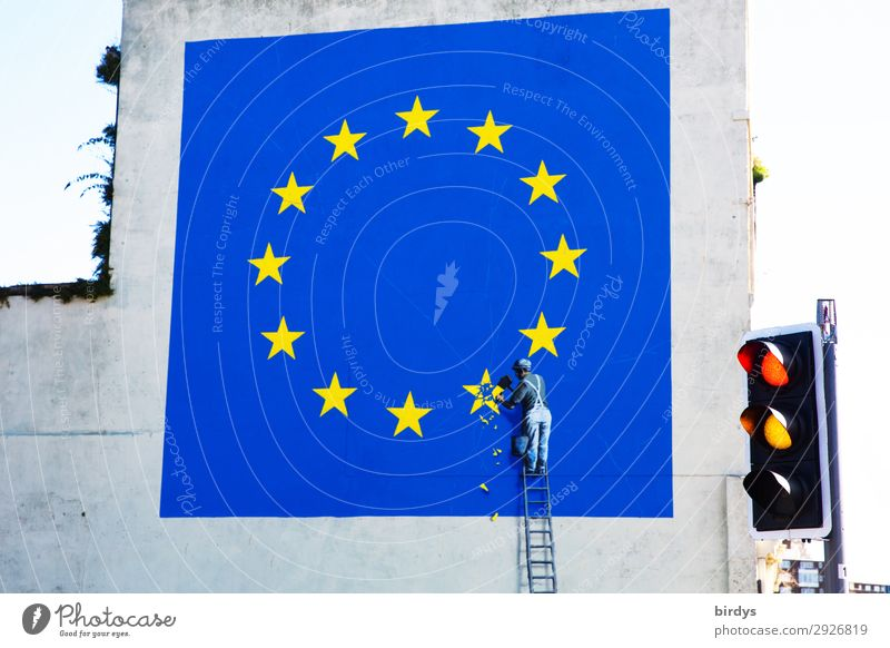 Is there anything else? Dover England Traffic light Ladder Sign Road sign Graffiti Euro symbol European flag Star (Symbol) Work and employment Authentic