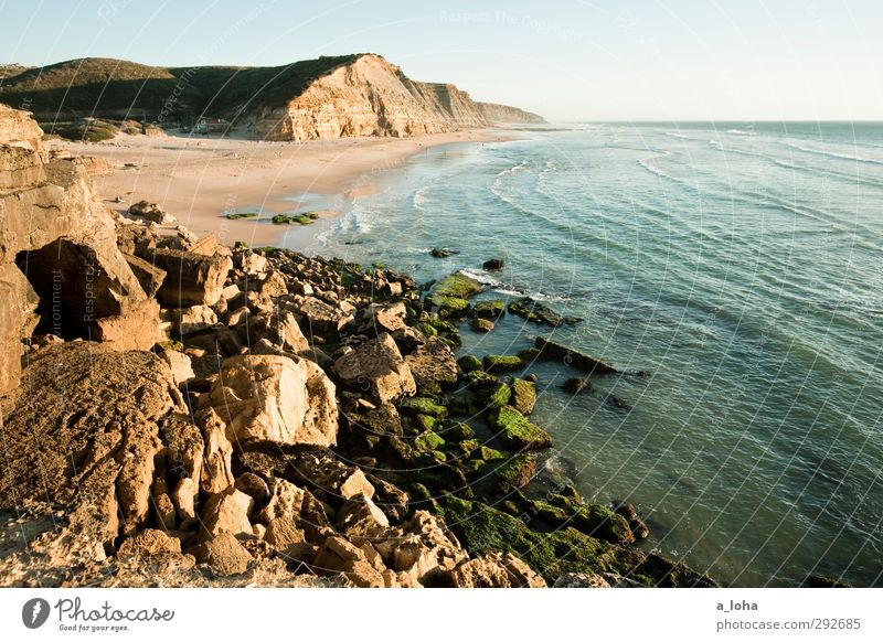 great sunshiny day Environment Nature Landscape Plant Elements Earth Water Cloudless sky Horizon Summer Beautiful weather Rock Waves Coast Beach Ocean Blue
