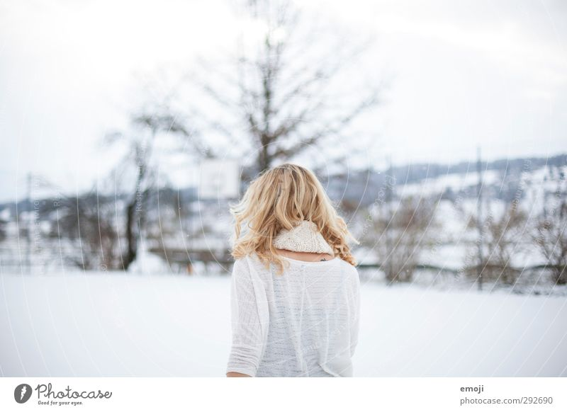 back view Feminine Young woman Youth (Young adults) 1 Human being 18 - 30 years Adults Winter Bright White Colour photo Exterior shot Day High-key Upper body