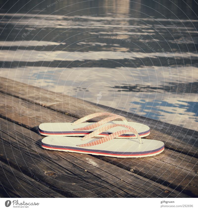 submerged Clothing Footwear Flip-flops Swimming & Bathing Stripe Footbridge Lakeside Body of water Surface of water Water Elements Wood Texture of wood Shuffle