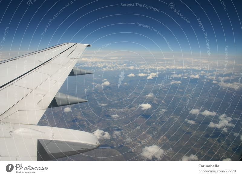 Vacation & Travel Clouds Airplane Flying Horizon Earth Aviation Wing Azure blue