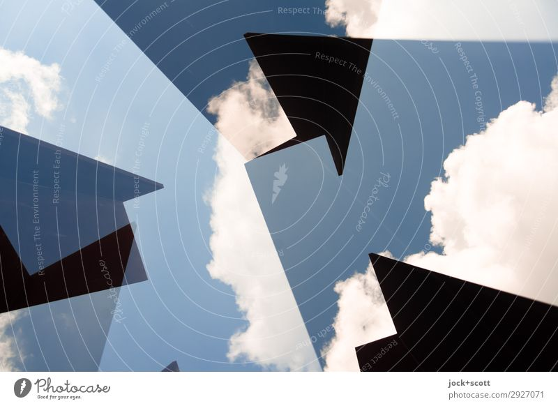 Geo clouds Art Sky Clouds Beautiful weather Arrow Geometry Structures and shapes Corner Exceptional Sharp-edged Fantastic Free Modern Above Blue Moody Power